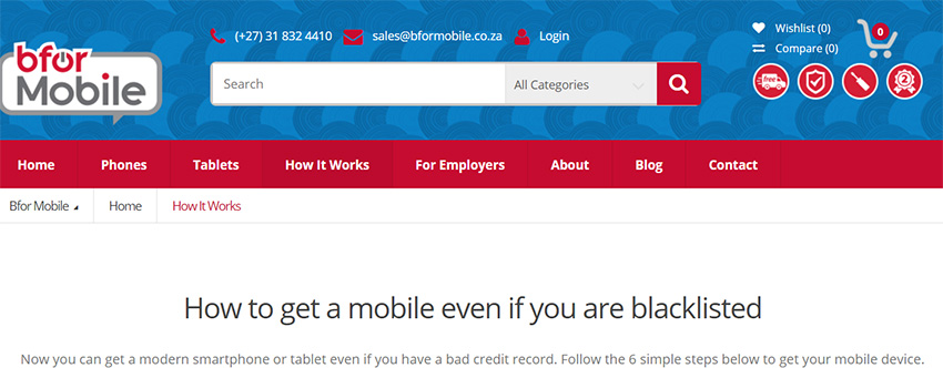 BforMobile Cellphone contracts for blacklisted